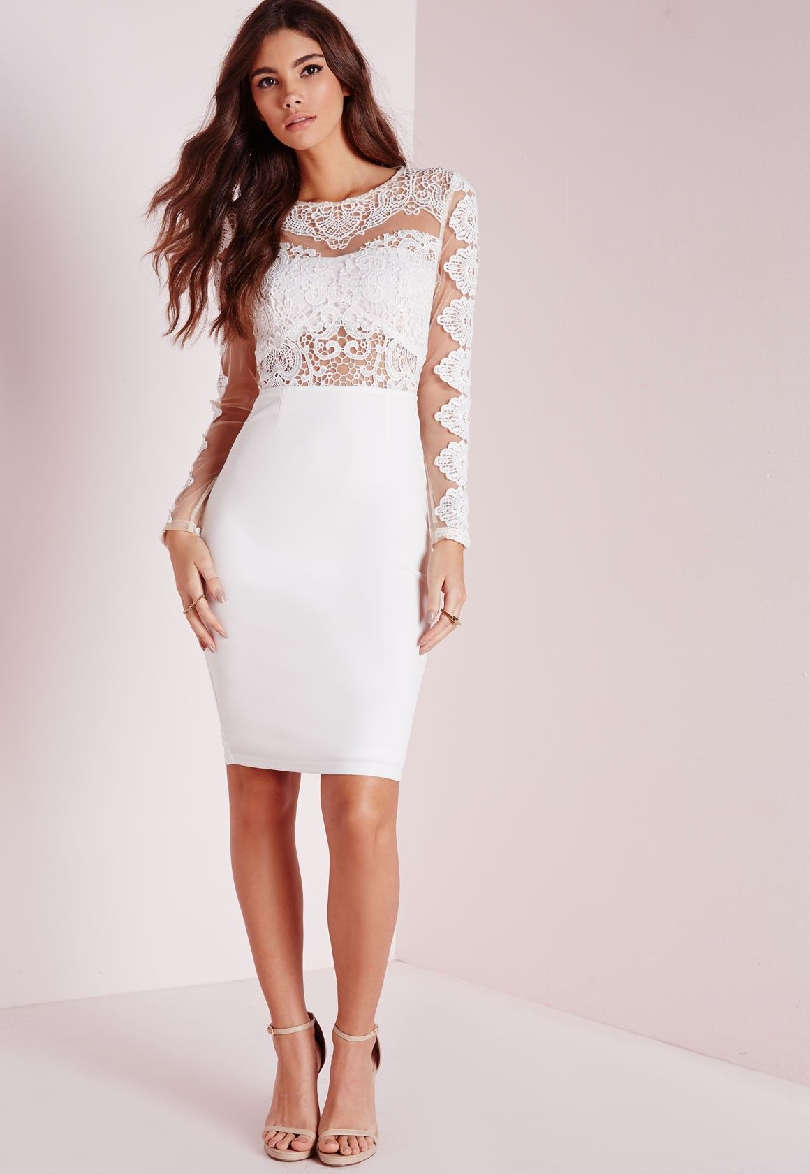Missguided - Sheer Lace Midi Dress White