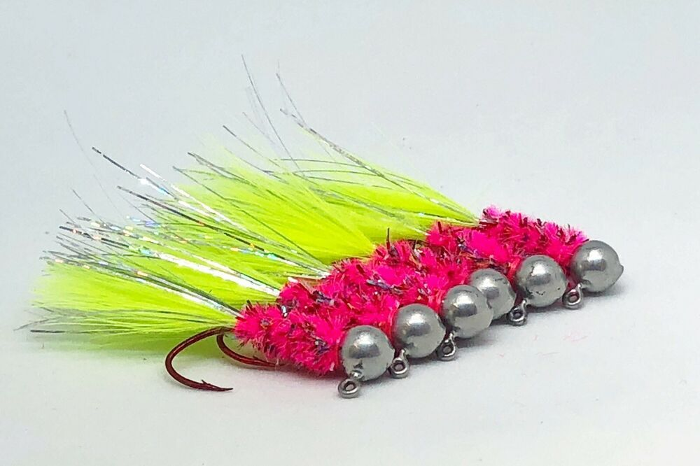 custom colors and styles made to order 1//16 Hand tied crappie jigs Two pack