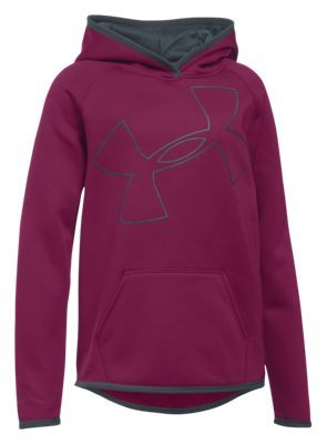 6535def9f2fe Under Armour Armour Fleece Jumbo Logo Hoodie for Girls -  Black Cherry Stealth Gray - XS