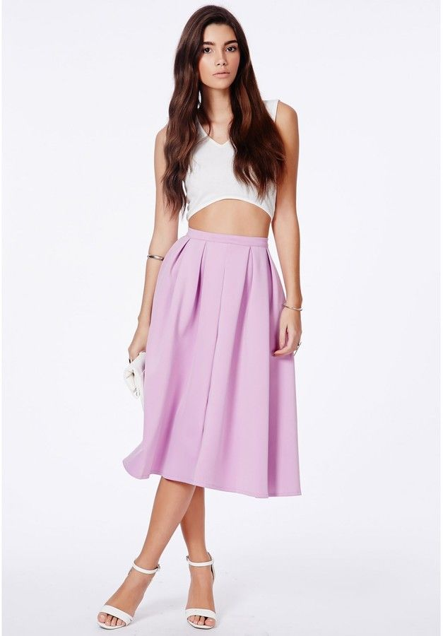 Auberta Lilac Pleated Midi Skirt In Scuba is on sale now for - 25 % !