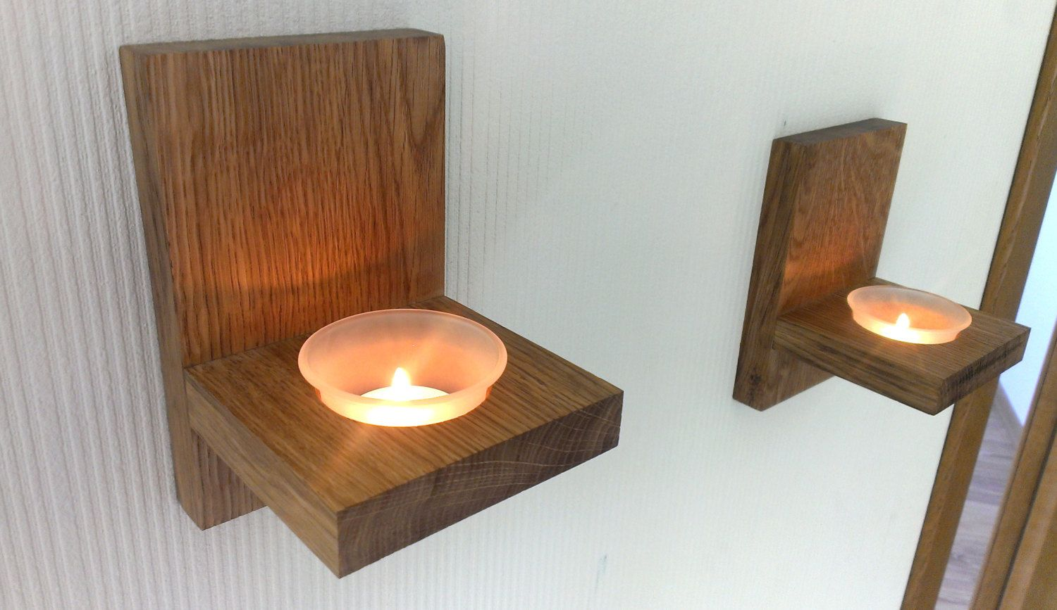 Modern Wall Mount Tea Light Candle Holder Oak Candle
