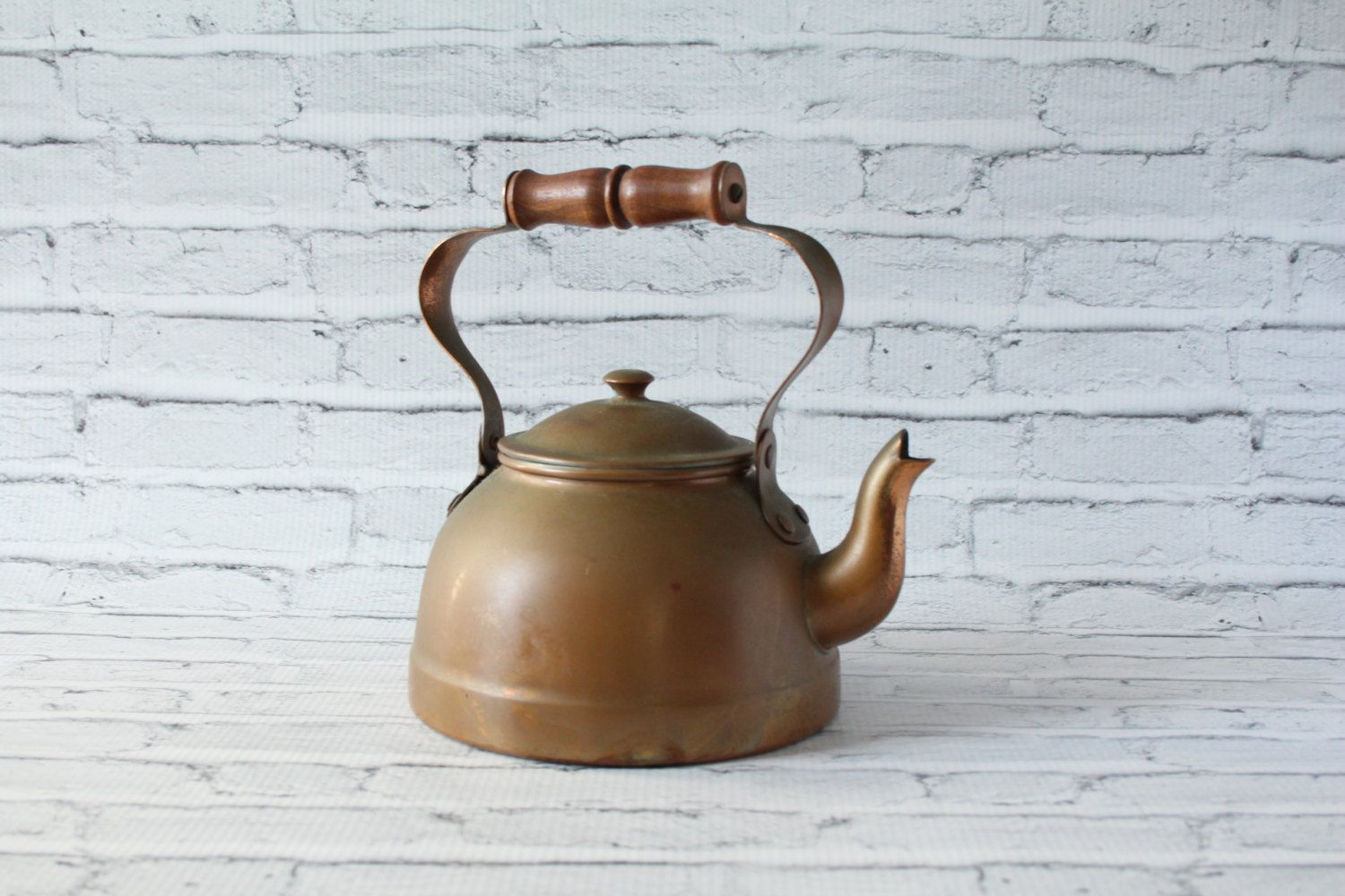 Vintage Bodum Copper Tea Kettle Wood Handle Tin Lined Water Design C ...
