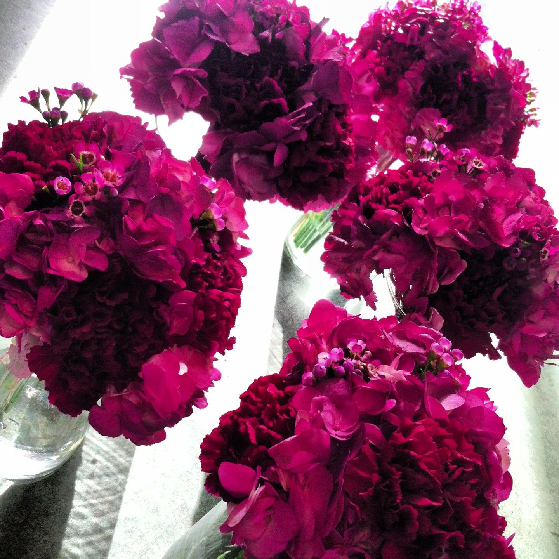 Wedding Bouquet Dark Pink Carnations And Dark Pink Floral Mix