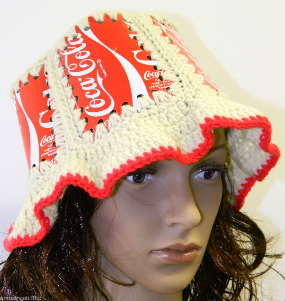 32507ff9107 Coca-Cola Knitted Crocheted Soda Pop Cans Art Top Vintage Hat Cap Coke  Couture