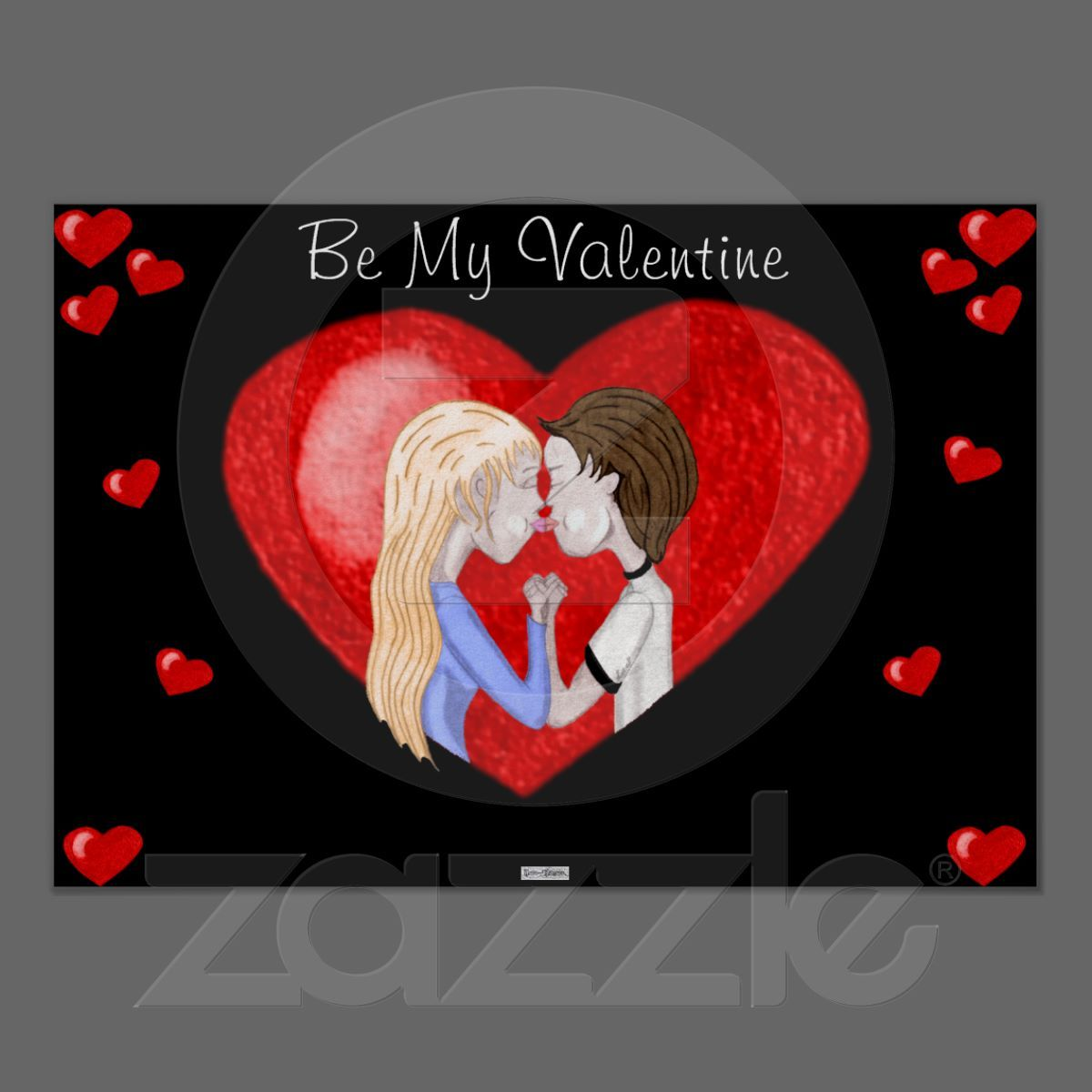 Kissing Couple In Heart Color Pencil Sketch Poster Prints Heart Poster