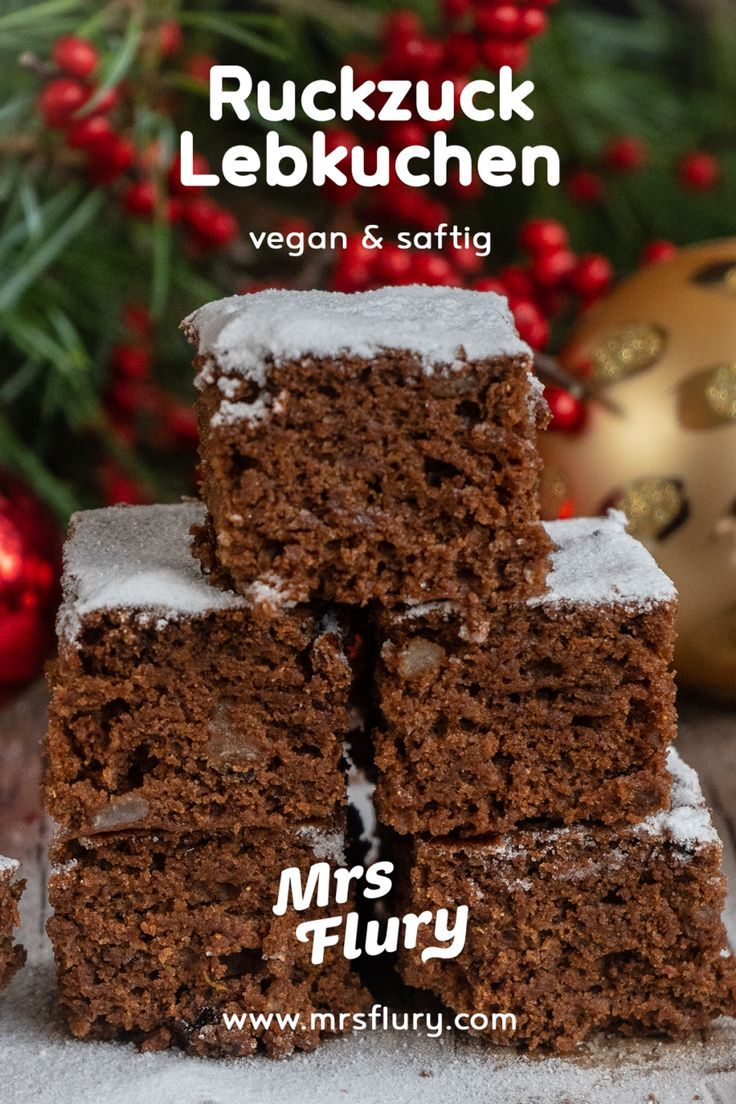 Saftiger Lebkuchen vom Blech vegan - Mrs Flury - Gesund essen und leben