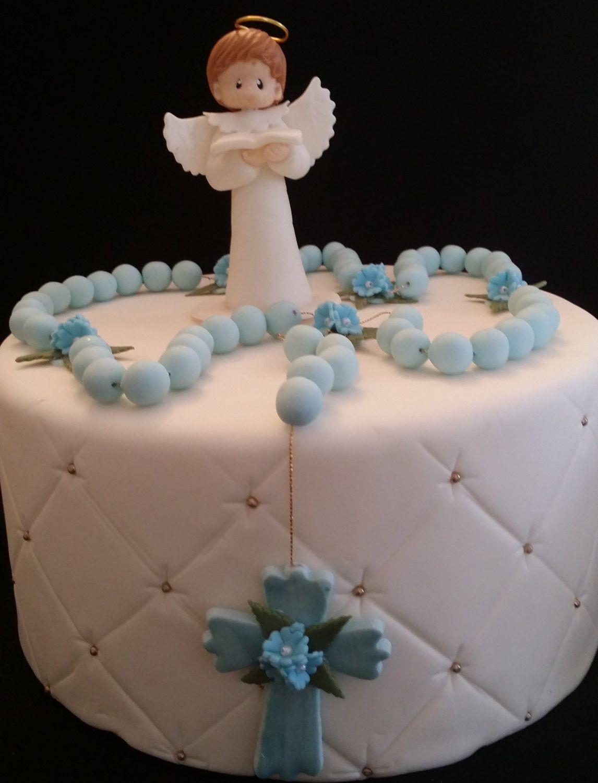Christening Pink or Blue Angel Baptismal Cake Topper Centerpiece Keepsake Decoration
