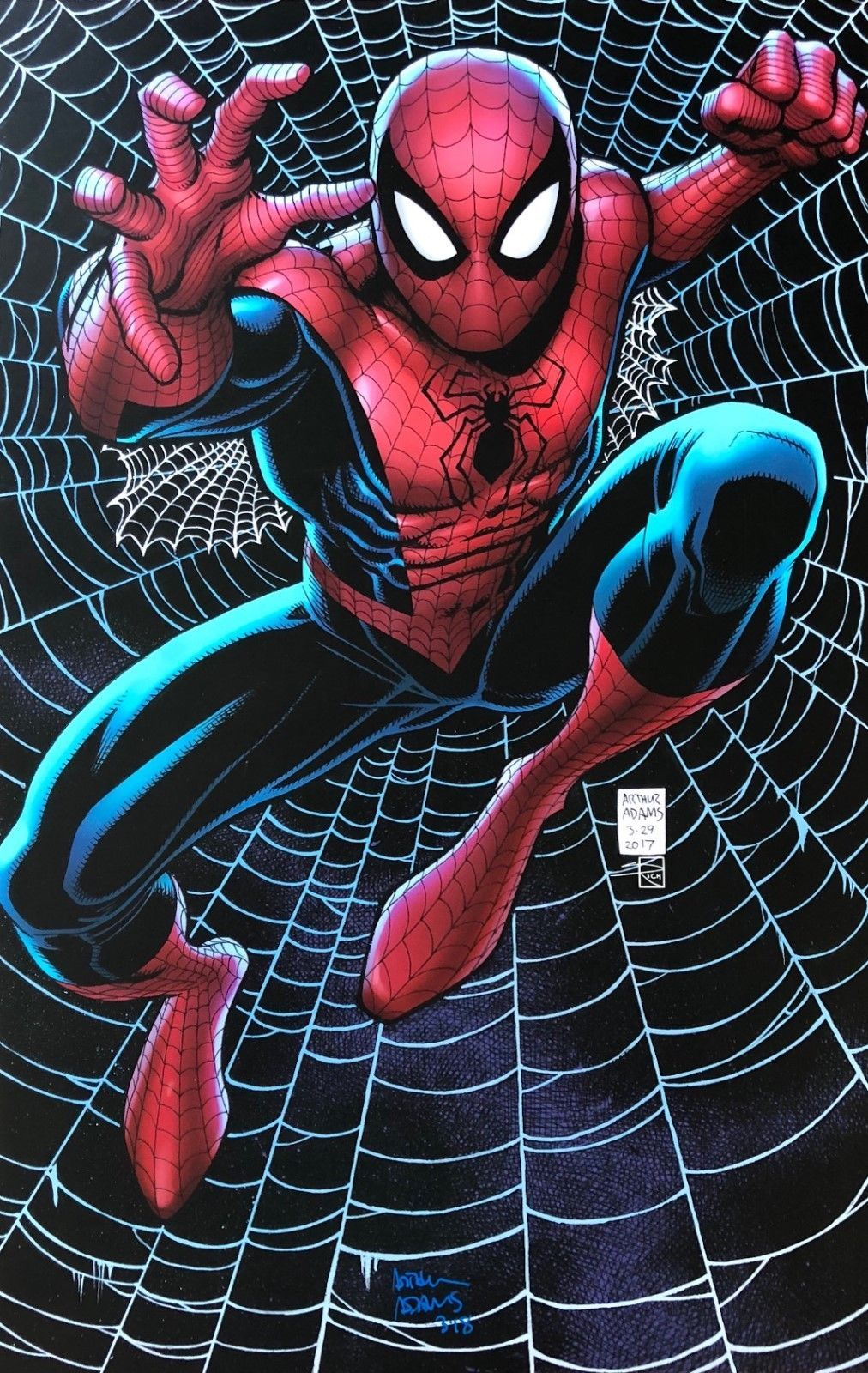 Arthur Adams Rare Spider Man Print Signed Limited Color 11x17 New