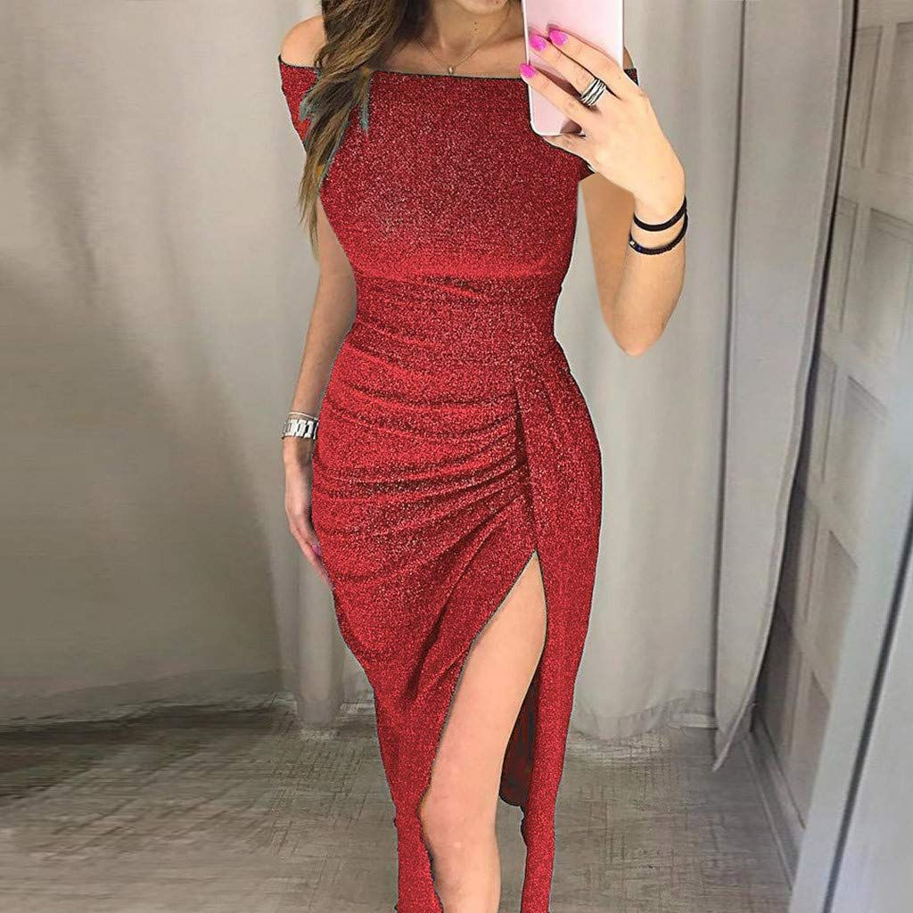 b3eea97d85 Athli Sexy Women Off Shoulder High Slit Sequin Bodycon Dress Short Sleeve  Dresses Black