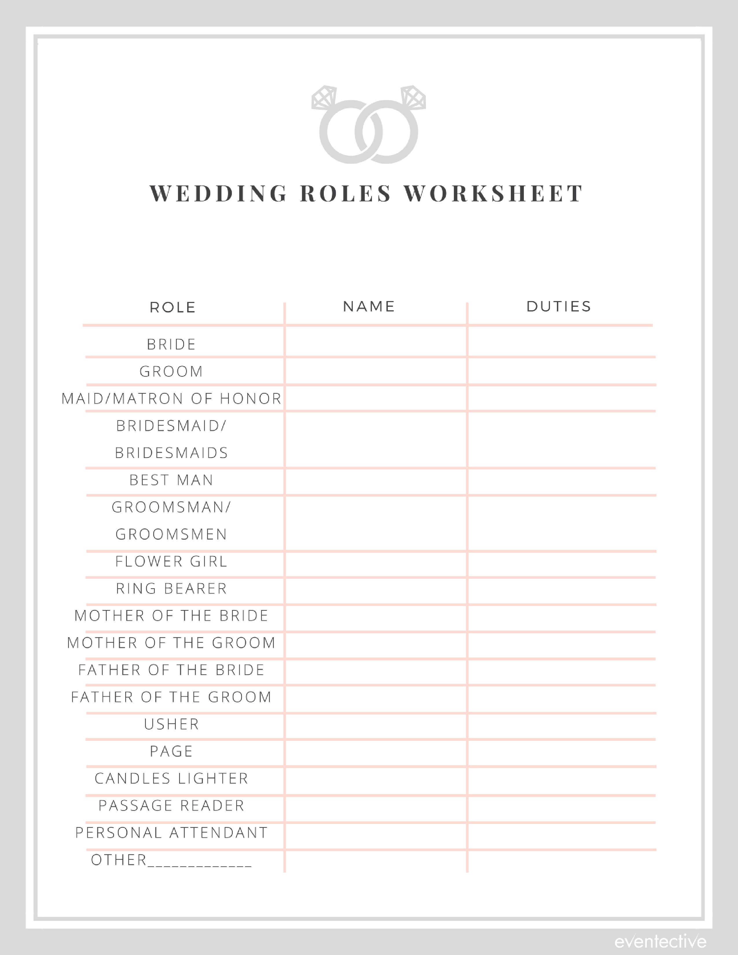Wedding Roles Worksheet In