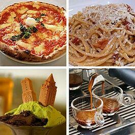 Italian cuisine (clockwise): Pizza Margherita, spaghetti alla carbonara, espresso, and gelato.