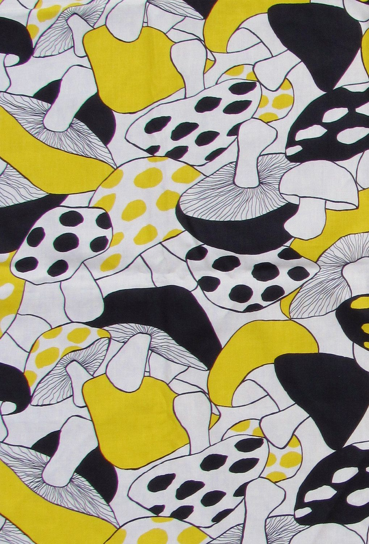 Vintage 70\'s Yellow Black Mushroom Fabric Wall Art   Fabric wall art ...