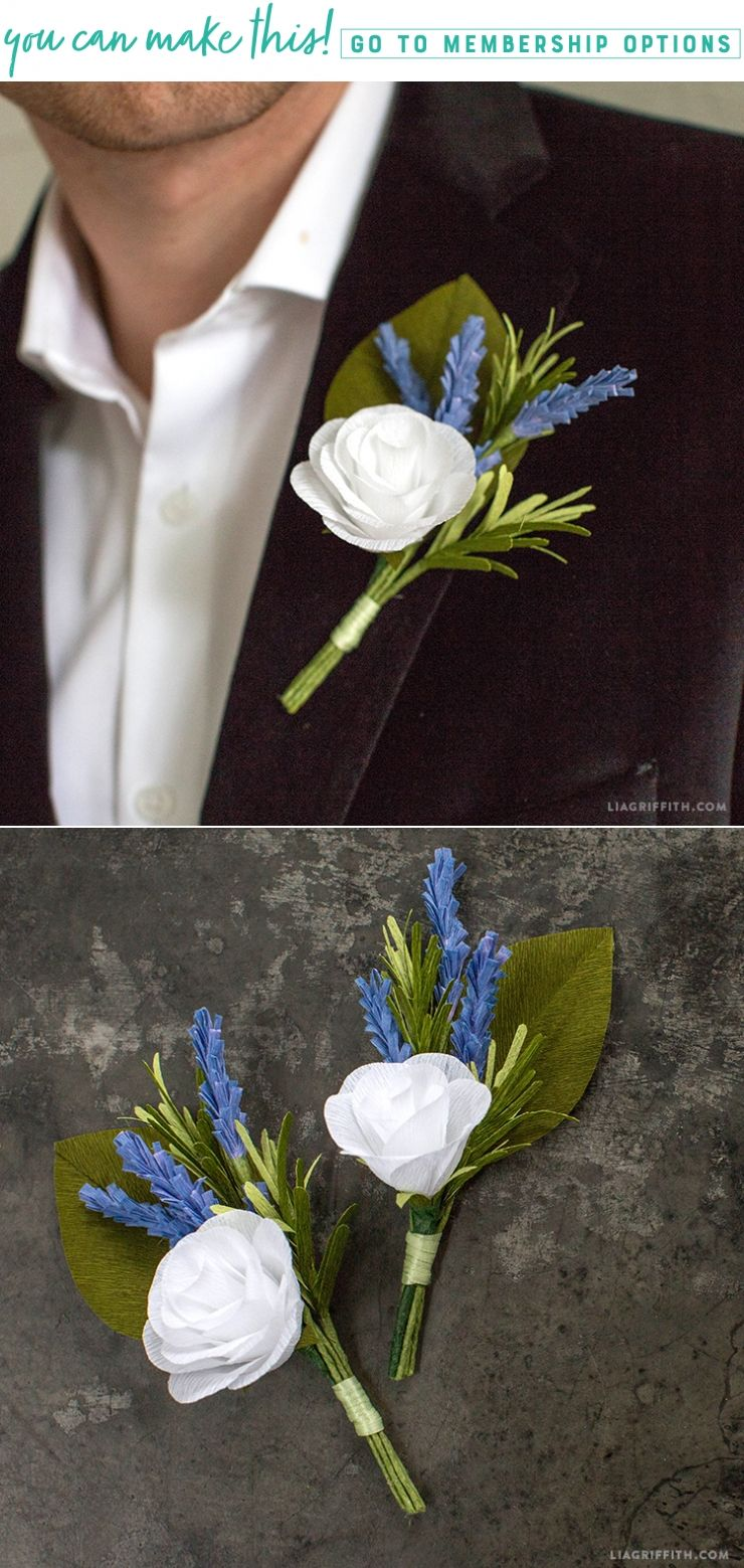 Craft Your Own Crepe Paper And Rosemary Diy Boutonniere Diy
