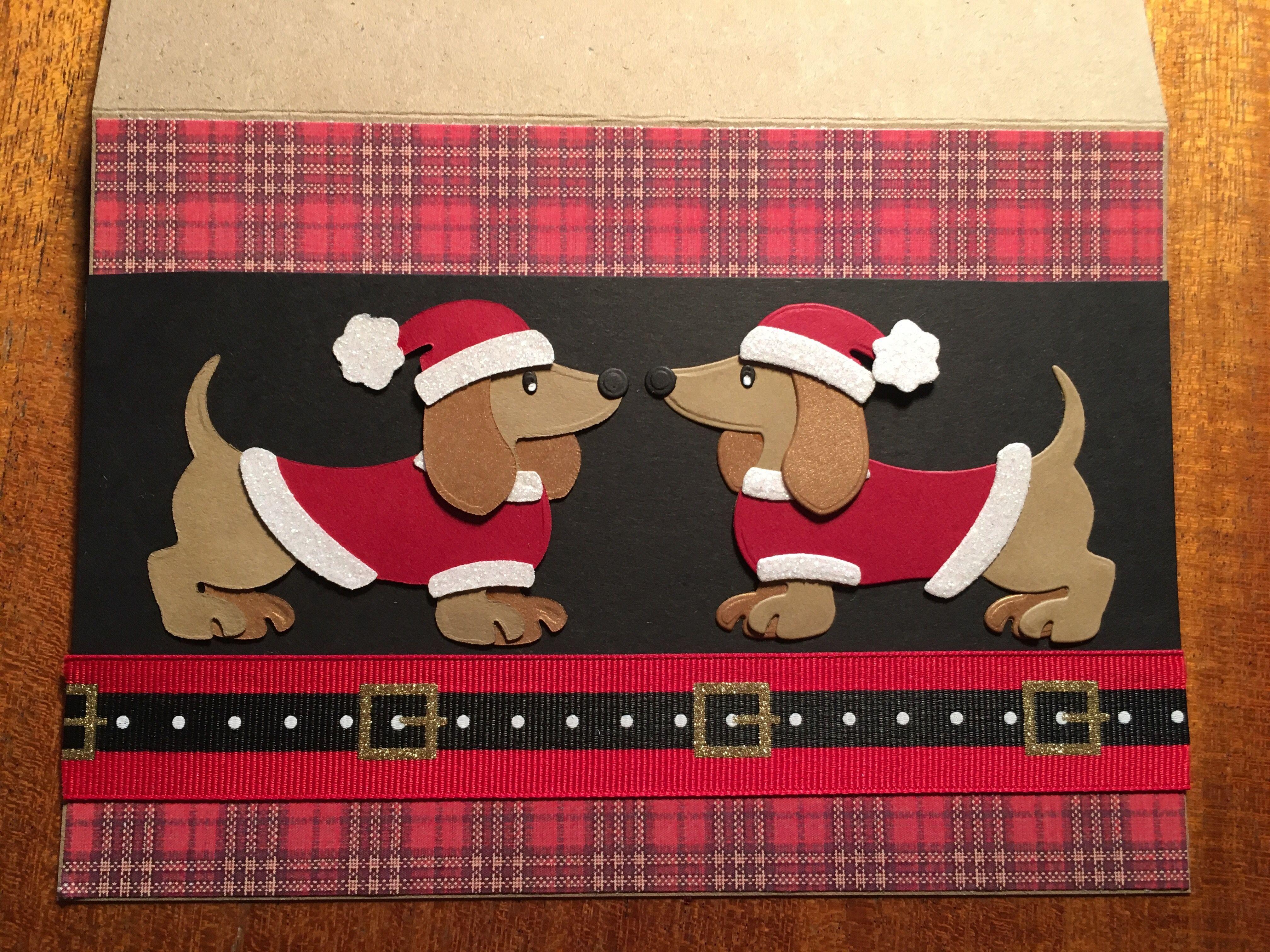 Marianne design dachshund Christmas card | Teckel: kaarten ...