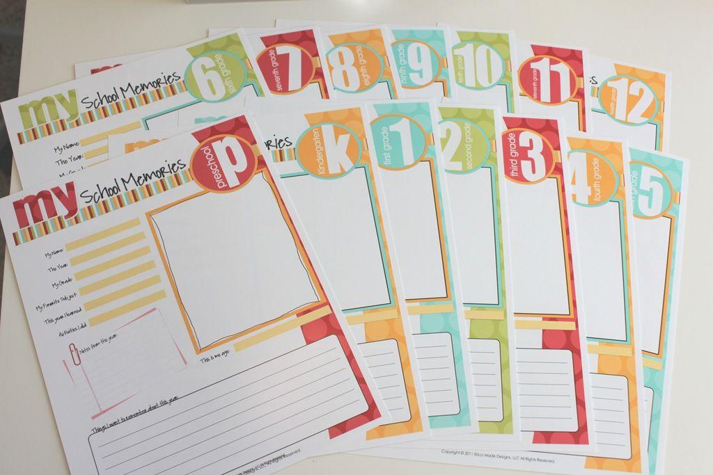 Free School Memory Kit Printables | Organization | School scrapbook ...