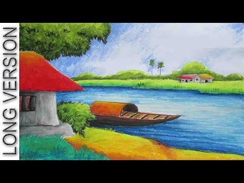Pastel Painting | Oil Pastel Landscape Drawing Tutorial [Long