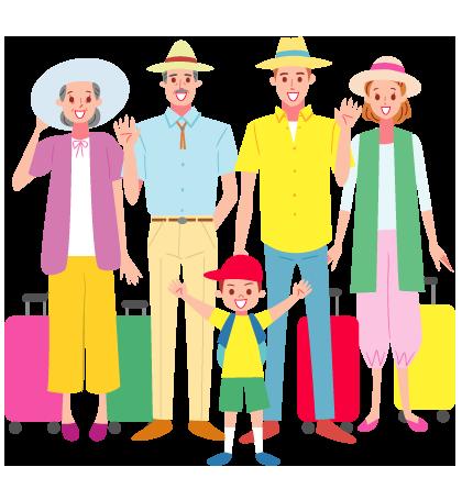 家族旅行に出かける三世代ファミリーのかわいいイラスト イラストマップ かわいいイラスト 人 イラスト