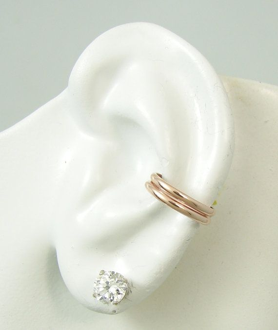 Ear Cuff Rose Gold Band No Piercing Cartilage Earcuff Wrap Earring Fake Conch Simple Double Edhrrgf