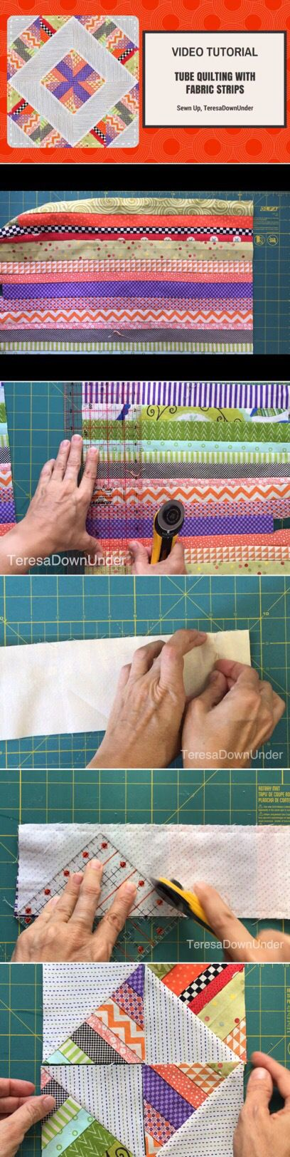 2 minute video tutorial: Scrappy tube quilting with strips | Selber ...