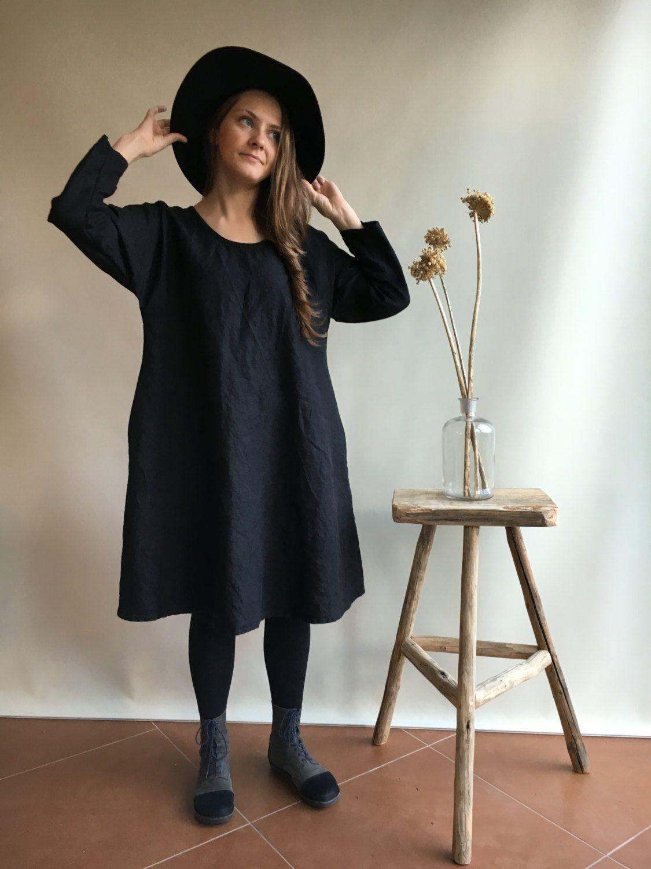 Linen Tunic Dress, Oversized and loose black dress, long sleeve ...