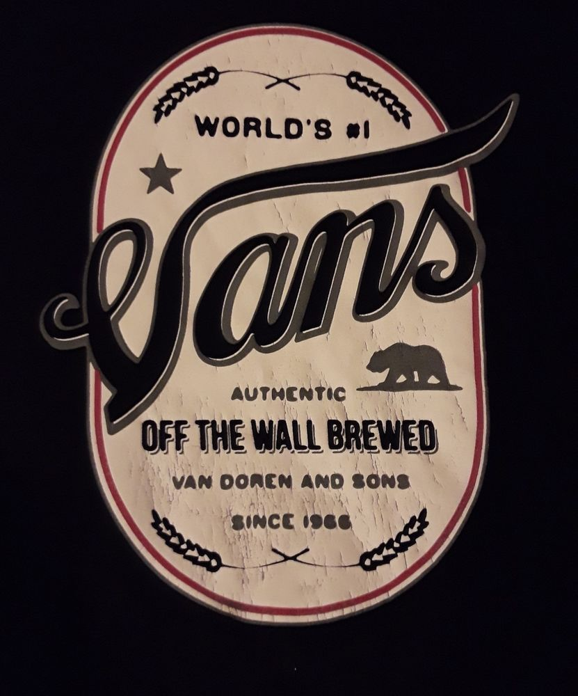 8e51a7318d Retro Vans shirt Beer Logo T-Shirt Authentic Off The Wall Brewed XL XLarge  black  VANS  GraphicTee
