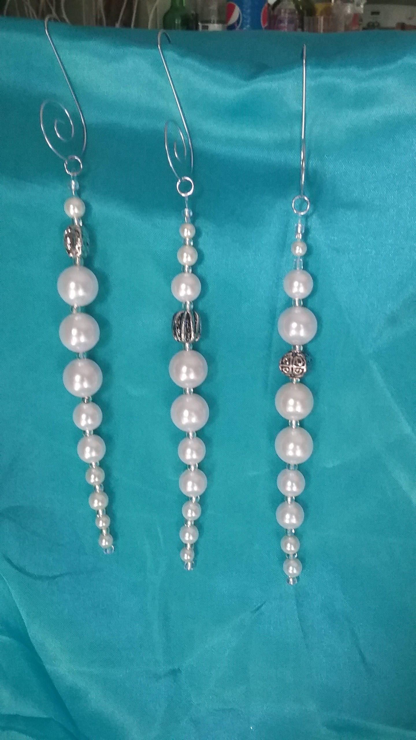 Christmas Icicles Bead Icicles Pearl Icicles Tree Ornaments