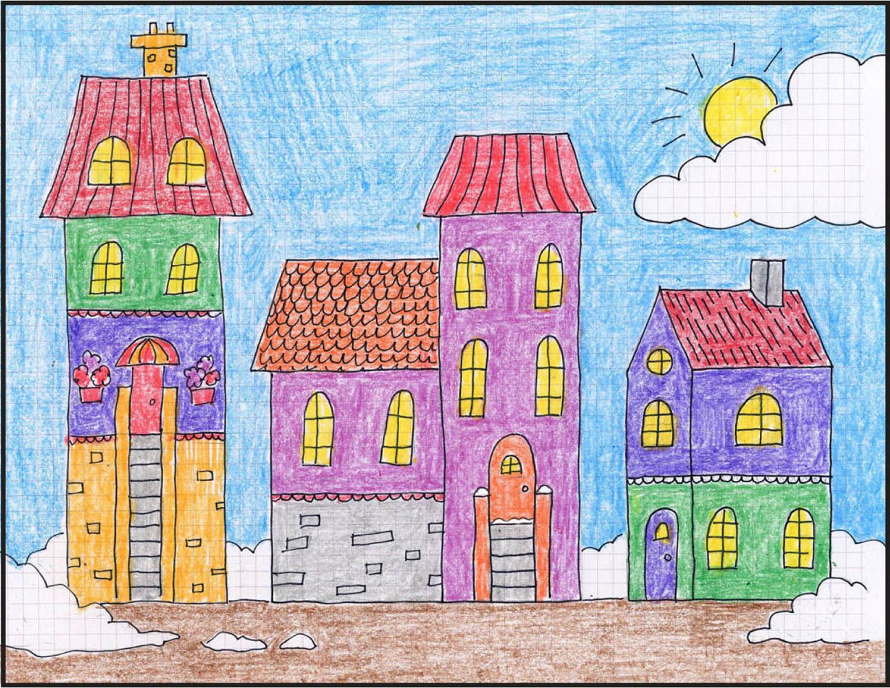 art projects for kids draw a winter town tutorial drawing