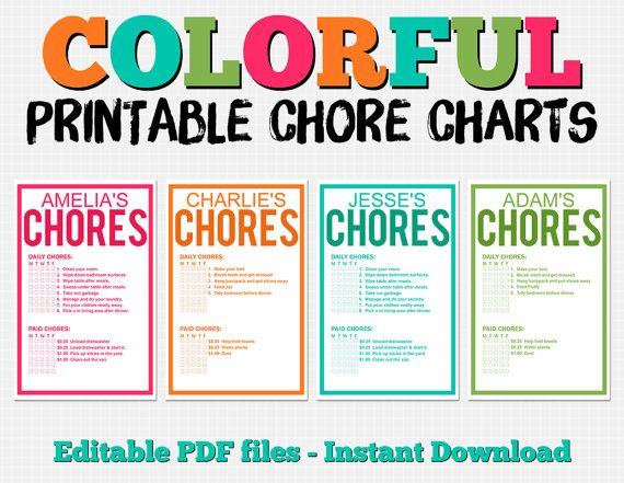 Colorful Customizable Chore Chart Pack Instant Download Teach