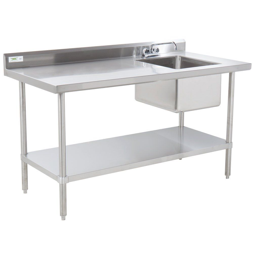 Sink On Right Regency 30 X 48 16 Gauge Stainless Steel Work Table With Sink In 2020 Stainless Steel Work Table Stainless Steel Prep Table Stainless Steel Shelving