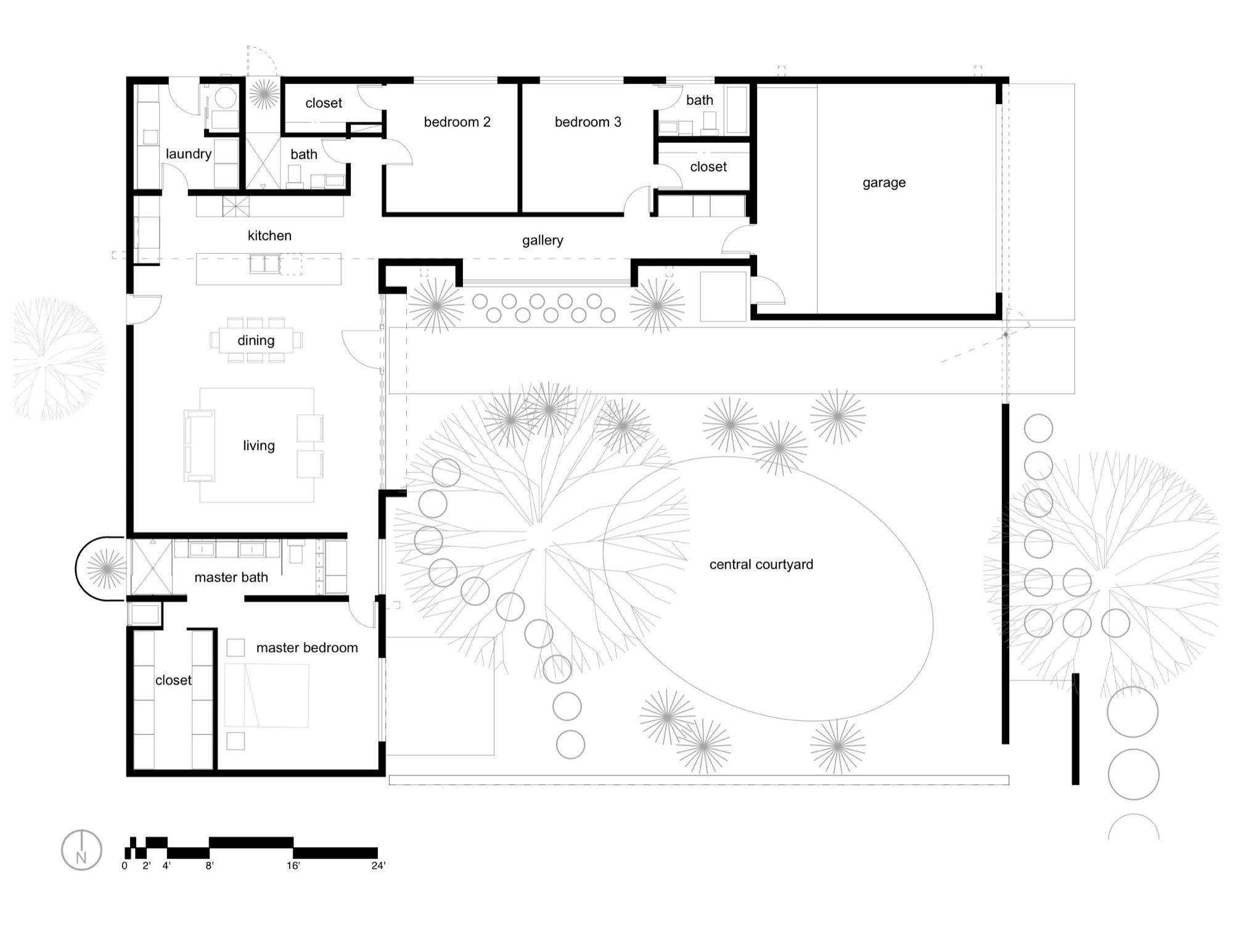 U Shaped Modern House Floor Plan - Modern House