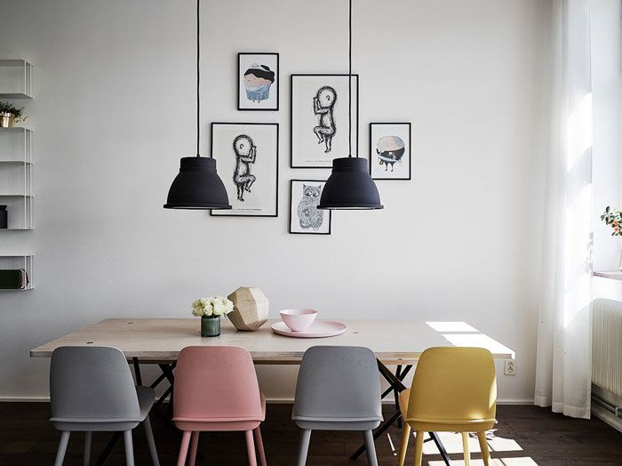 Modern Scandinavian Loft With Pops Of Colours Nordic Design Minimalist House Design Dining Room Design Modern Interior Design