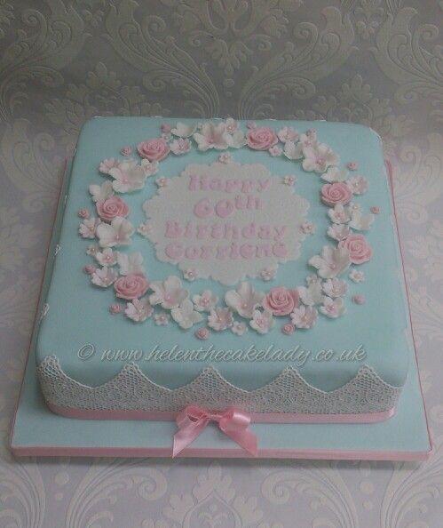 60th Floral Birthday Cake Cakes Square Birthday Cake