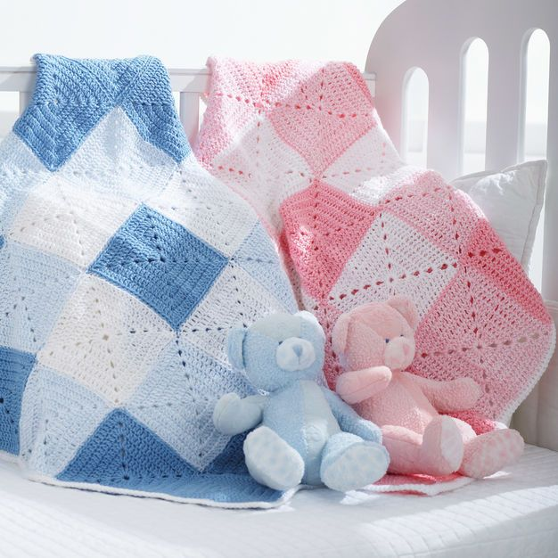 Bernat Double Diamond Blanket, Girl | Blankets | Pinterest | Baby ...