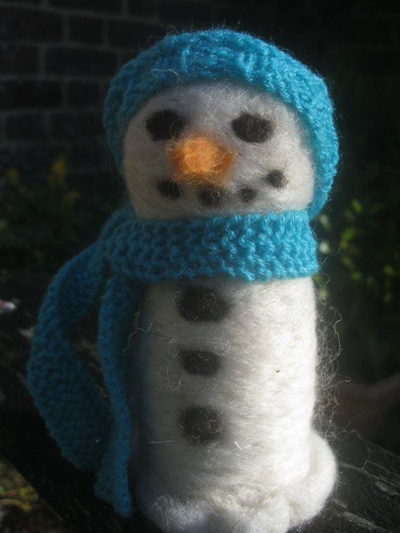 Mini needle felted snowlady'Myrtle' by KnitwitDesignsUK on Etsy, £12.00