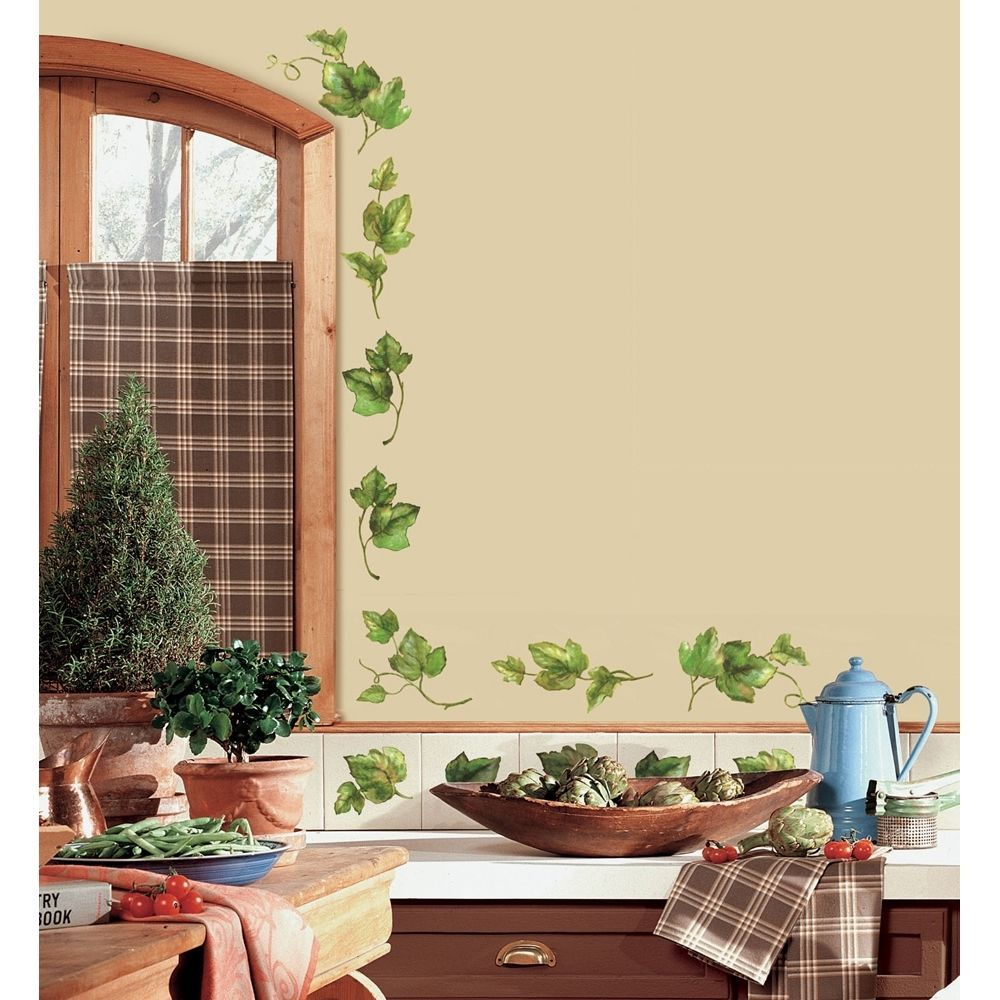 38 New Ivy Leaves Wall Decals Peel Stick Kitchen Stickers Green