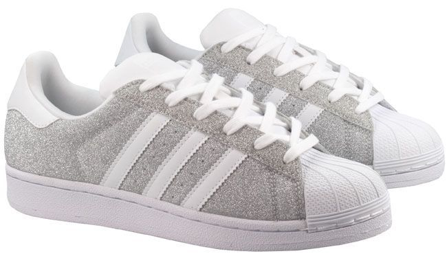 Adidas Womens Superstar White Sparkle Silver Shoes | Silver
