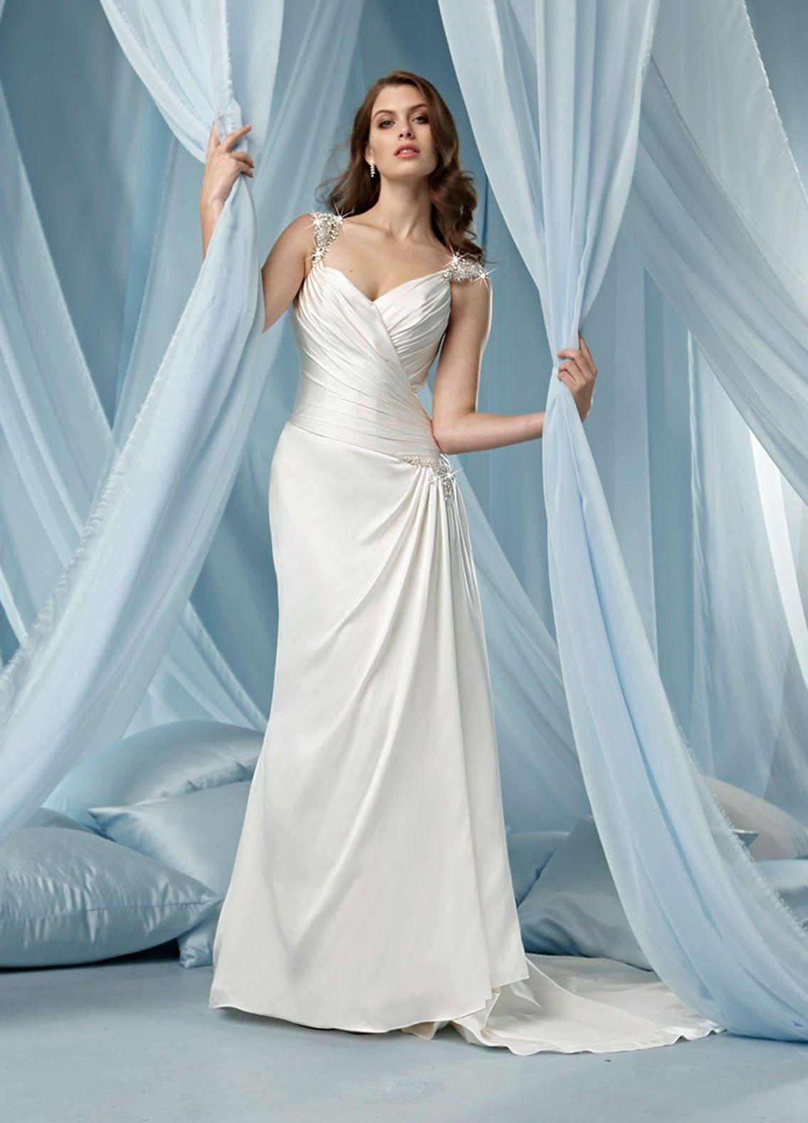 Tissue Satin V-neck Side Draped Bodice Column Wedding Dress | Sheath ...