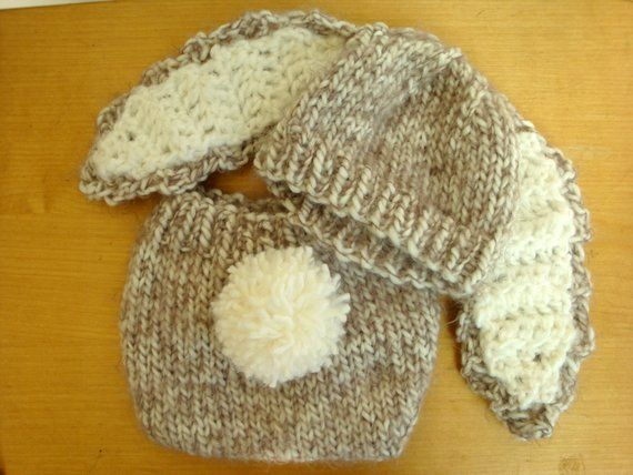 bb6a45ed001 Floppy Ear Bunny Hat and Diaper Cover with Tail - Brown or Pink Bunny  Outfit - Knit Baby Hat - Easte