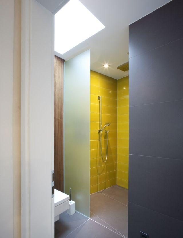 Lieblich Ideen Kleine Bäder Begehbare Dusche Gelbe Fliesen