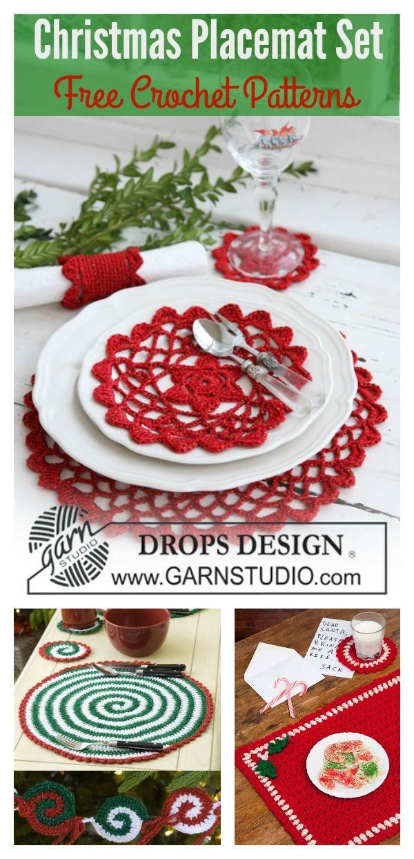 Christmas Placemat Set Free Crochet Patterns Christmas Crochet Crochet Xmas Christmas Placemats