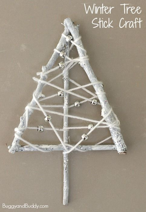 Winter Art Project for Kids: Winter Trees Made from Sticks and Yarn! Cute winter tree craft for preschool and kindergarten (provides fine motor practice too!) ~ BuggyandBuddy.com