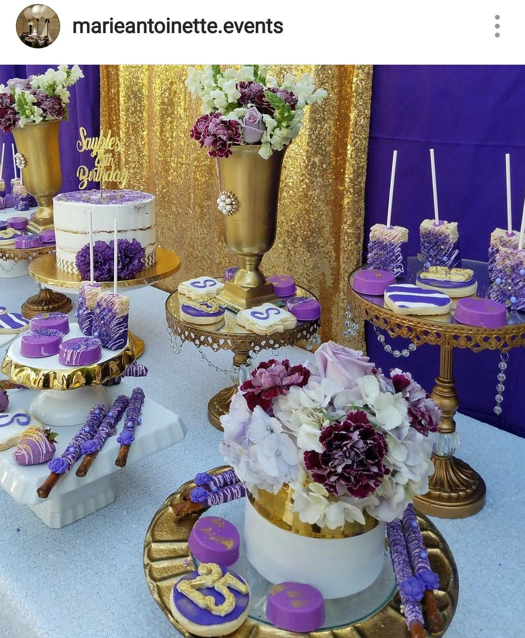 Purple, gold and white Dessert table.