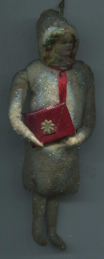 Alter Weihnachtsschmuck Christbaumschmuck Watte Oblate Mädel m.Tasche Schulmädel   eBay