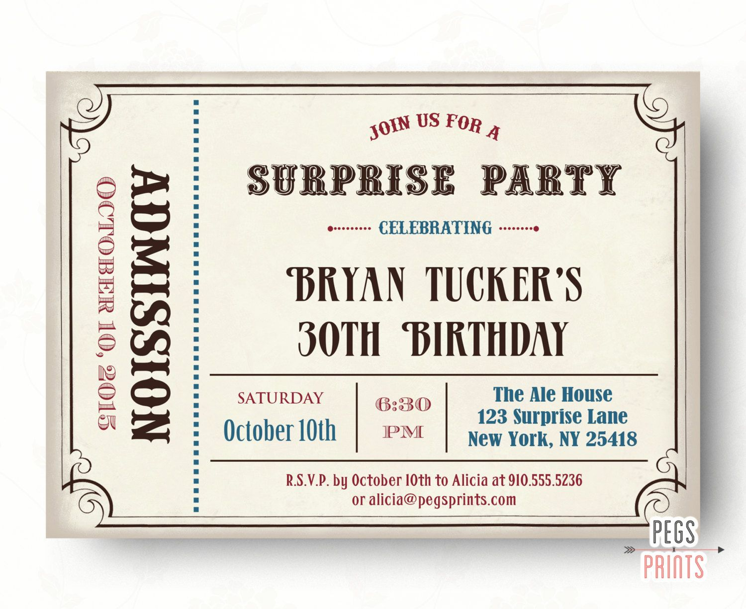 Male Surprise Birthday Invite