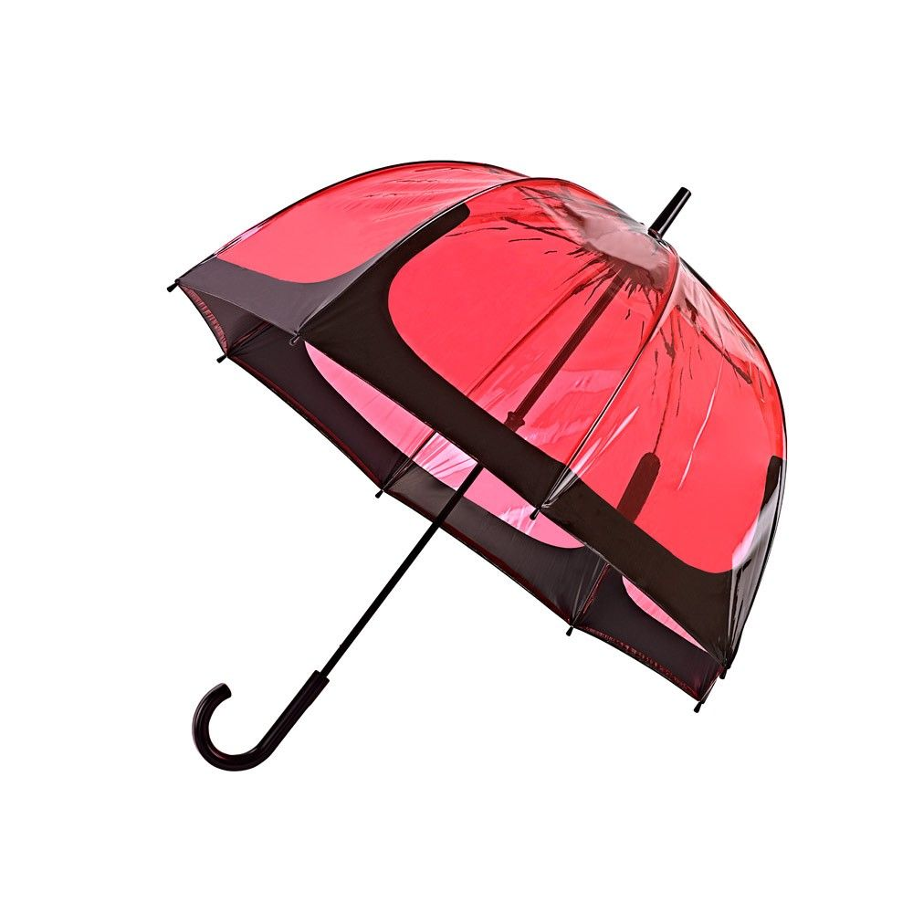 poppy Birdcage Umbrella Now you can see where you're going and stay dry, thanks to this poppy coloured, see-through dome. Very stylish, the Poppy Birdcage Umbrella is also light and strong. The vinyl dome opens smoothly and securely on an easy glide runner. Features fibreglass ribs for lightweight strength, with a black plated steel shaft. Weight: 530g. Diameter when open: 86cm. Length when closed: 94cm.