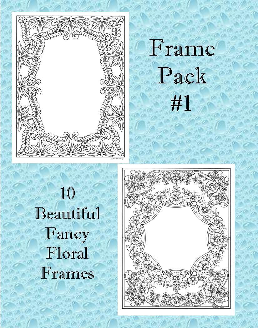 Frame Pack 1 - 10 Fancy Floral Frames for Photographs, Verse, Poetry ...