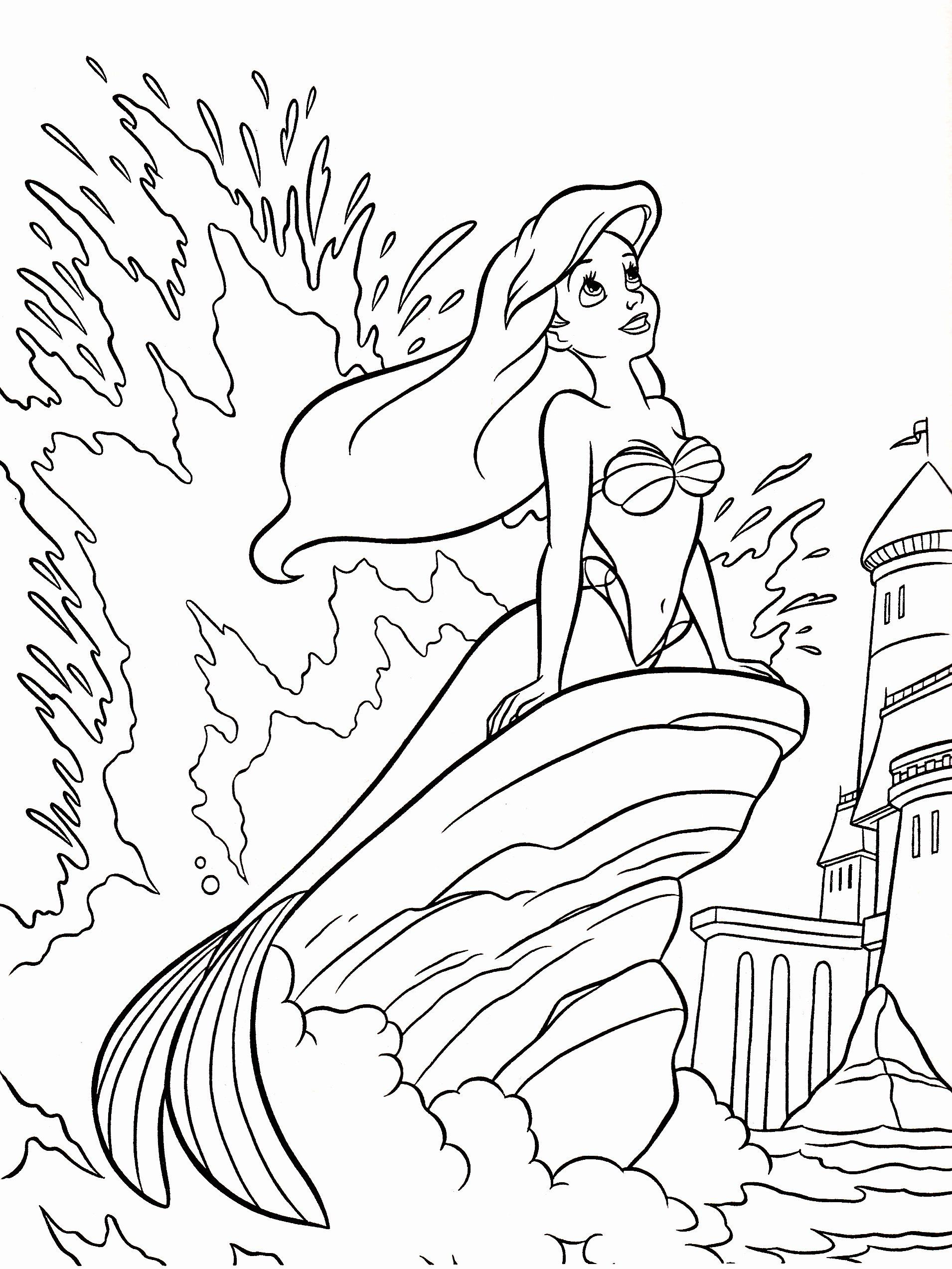 Detailed Disney Coloring Pages Luxury Walt Disney Coloring Pages Princess Ariel Walt Disney Warna Blog