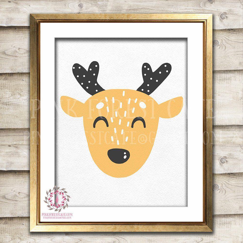 Sleeping Boho Sleepy Deer Woodland Nursery Decor Wall Art Printable ...