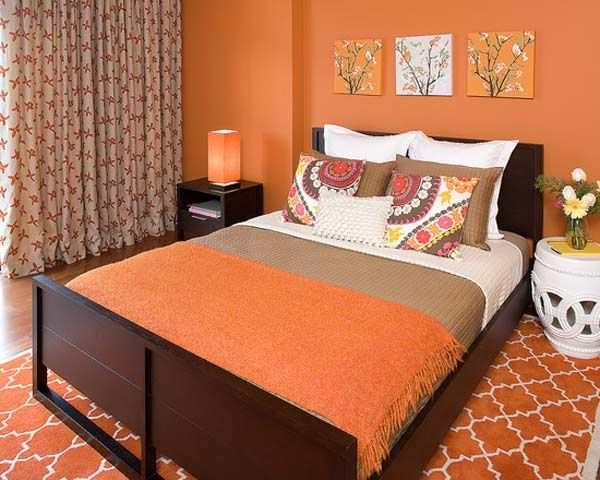 Orange Bedroom Decor With Orange Walls And Flooring Paint