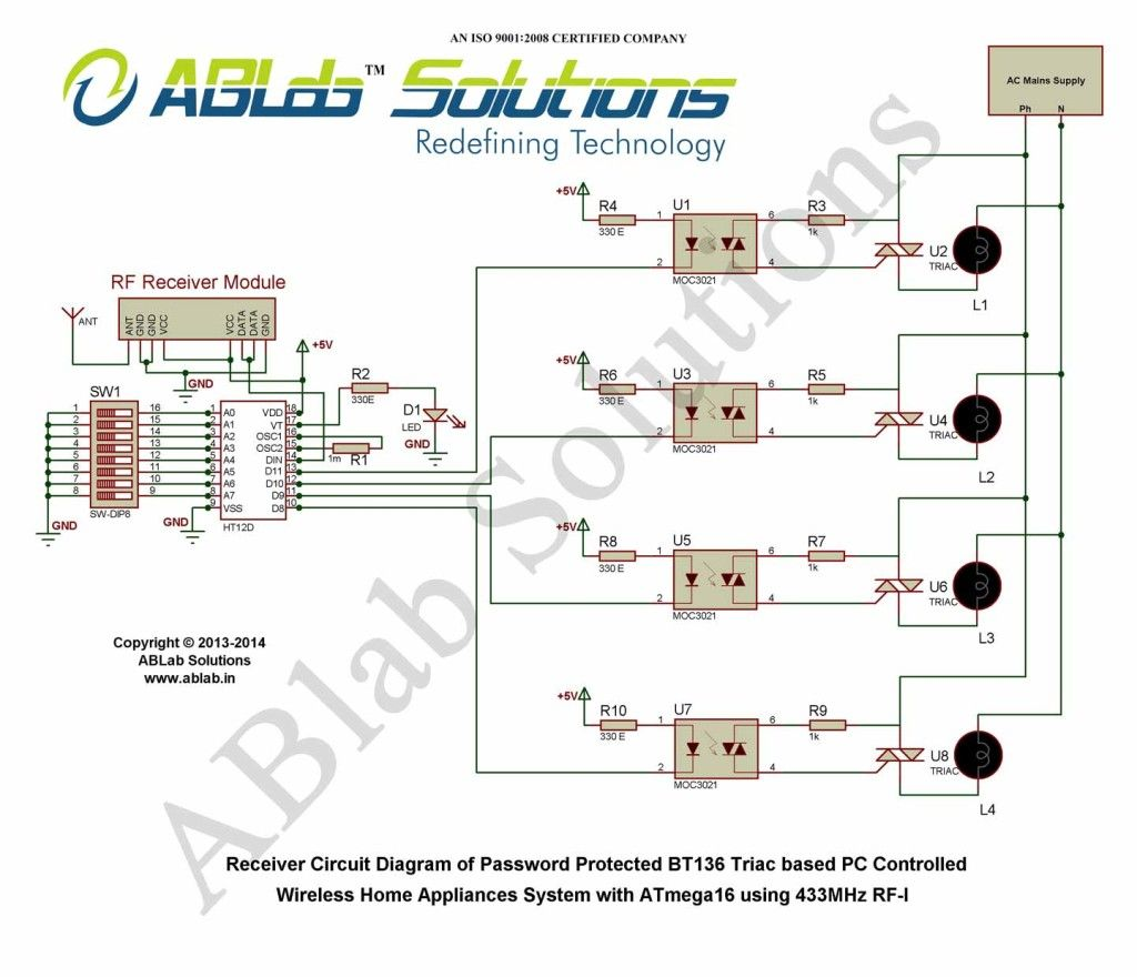 small resolution of  bt136 triac based pc controlled wireless home appliances system with avr atmega16 microcontroller using 433mhz rf free download code circuit diagram
